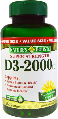 Vitaminas, Vitamina D3 Natures Bounty, D3, Super Strength, 2000 IU, 350 Rapid Release Softgels