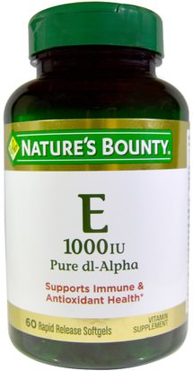 Vitaminas, Vitamina E Natures Bounty, Vitamin E, Pure Dl-Alpha, 1000 IU, 60 Rapid Release Softgels