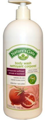 Baño, Belleza, Gel De Ducha Natures Gate, Body Wash, Pomegranate Sunflower, 32 fl oz (946 ml)