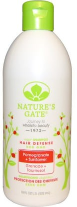 Baño, Belleza, Cabello, Cuero Cabelludo, Champú Natures Gate, Shampoo, Hair Defense, Vegan, Pomegranate + Sunflower, 18 fl oz (532 ml)