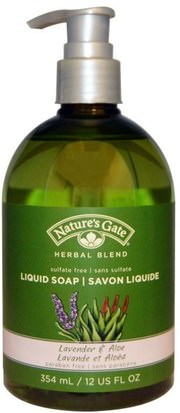Baño, Belleza, Jabón Natures Gate, Herbal Blend, Liquid Soap, Lavender & Aloe, 12 fl oz (354 ml)