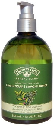 Baño, Belleza, Jabón Natures Gate, Herbal Blend, Liquid Soap, Tea Tree & Blue Cypress, 12 fl oz (354 ml)