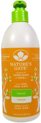 Baño, Belleza, Loción Corporal Natures Gate, Lotion, Papaya, 18 fl oz (532 ml)
