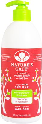 Baño, Belleza, Loción Corporal Natures Gate, Lotion, Pomegranate Sunflower, 18 fl oz (532 ml)