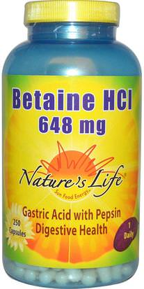 Suplementos, Betaína Hcl Natures Life, Betaine HCl, 648 mg, 250 Capsules