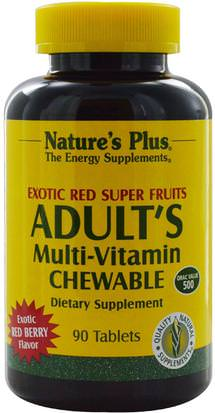 Vitaminas, Multivitaminas, Extractos De Frutas, Superfrutas Natures Plus, Adults Multi-Vitamin Chewable, Exotic Red Super Fruits, Red Berry, 90 Tablets