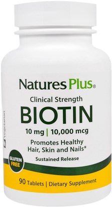 Vitaminas, Vitamina B, Biotina, Salud, Mujeres, Piel Natures Plus, Biotin, Sustained Release, 90 Tablets