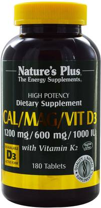 Suplementos, Minerales, Calcio Y Magnesio Natures Plus, Cal/Mag/Vit D3, with Vitamin K2, 180 Tablets