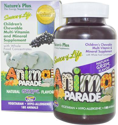 Vitaminas, Multivitaminas, Niños Multivitaminas Natures Plus, Childrens Chewable Multi-Vitamin and Mineral Supplement, Natural Grape Flavor, 180 Animals
