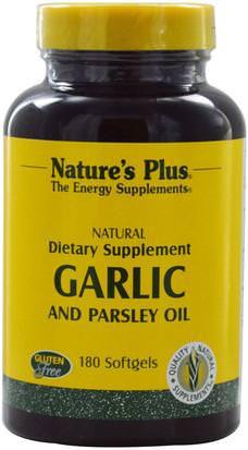 Salud, Salud Cardiovascular, Apoyo Cardíaco Natures Plus, Garlic and Parsley Oil, 180 Softgels
