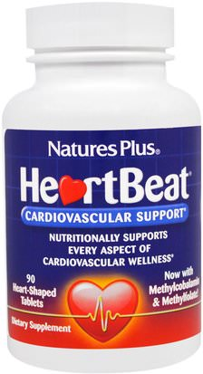 Salud, Salud Cardiovascular, Apoyo Cardíaco Natures Plus, HeartBeat, Cardiovascular Support, 90 Heart-Shaped Tablets
