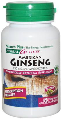 Suplementos, Adaptógeno Natures Plus, Herbal Actives, American Ginseng, 250 mg, 60 Veggie Caps