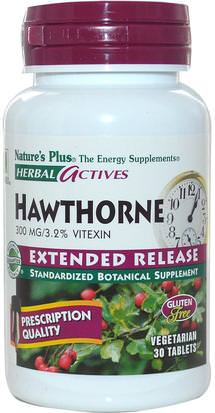 Hierbas, Espino Natures Plus, Herbal Actives, Hawthorne, Extended Release, 300 mg, 30 Veggie Tabs