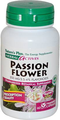 Hierbas, Flor De La Pasión Natures Plus, Herbal Actives, Passion Flower, 250 mg, 60 Veggie Caps