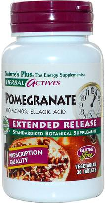 Suplementos, Antioxidantes, Extracto De Jugo De Granada Natures Plus, Herbal Actives, Pomegranate, Extended Release, 400 mg, 30 Tabs