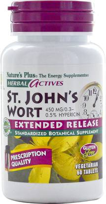 Hierbas, St. Johns Wort Natures Plus, Herbal Actives, St. Johns Wort, 450 mg, 60 Tablets