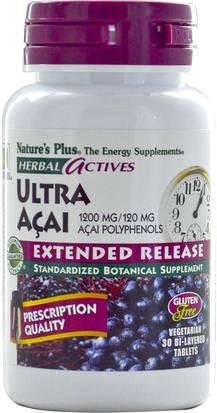 Suplementos, Extractos De Frutas, Súper Frutas, Cápsulas De Acai Cápsulas Blandas Natures Plus, Herbal Actives, Ultra Acai, Extended Release, 1200 mg, 30 Bi-Layered Tablets