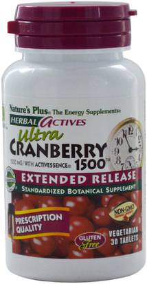 Hierbas, Arándano Natures Plus, Herbal Actives, Ultra Cranberry 1500, 1500 mg, 30 Veggie Tabs