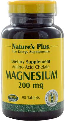 Suplementos, Minerales, Magnesio Natures Plus, Magnesium, 200 mg, 90 Tablets