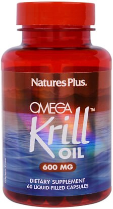 Salud, Mujeres, Suplementos, Efa Omega 3 6 9 (Epa Dha), Aceite De Krill Natures Plus, Omega Krill Oil, 600 mg, 60 Liquid-Filled Capsules