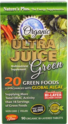 Suplementos, Superalimentos, Verdes Natures Plus, Organic Ultra Juice Green, 90 Organic Bi-Layered Tablets