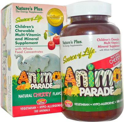 Vitaminas, Multivitaminas, Niños Multivitaminas Natures Plus, Source of Life, Animal Parade, Childrens Chewable Multi-Vitamin and Mineral Supplement, Natural Cherry Flavor, 180 Animals