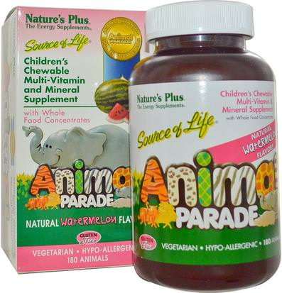 Vitaminas, Multivitaminas, Niños Multivitaminas Natures Plus, Source of Life, Animal Parade, Childrens Chewable, Natural Watermelon Flavor, 180 Animals