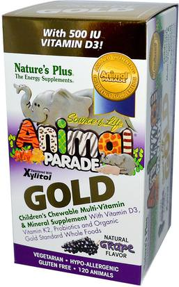 Vitaminas, Multivitaminas, Niños Multivitaminas Natures Plus, Source of Life Animal Parade, Gold, Childrens Chewable Multi-Vitamin & Mineral Supplement, Natural Grape Flavor, 120 Animals