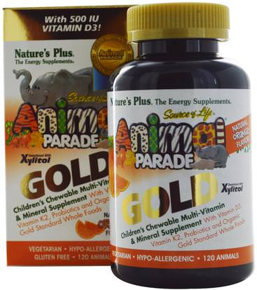 Vitaminas, Multivitaminas, Niños Multivitaminas Natures Plus, Source of Life, Animal Parade Gold, Childrens Chewable Multi-Vitamin & Mineral Supplement, Natural Orange Flavor, 120 Animals