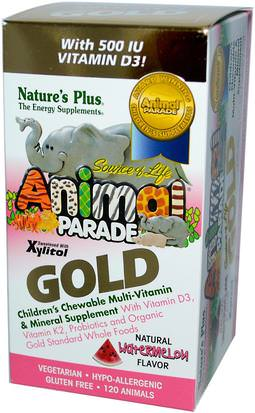 Vitaminas, Multivitaminas, Niños Multivitaminas Natures Plus, Source of Life, Animal Parade Gold, Childrens Chewable Multi-Vitamin & Mineral, Watermelon, 120 Animals
