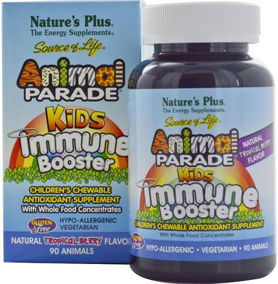 Salud, Gripe Fría Y Viral, Sistema Inmune Natures Plus, Source of Life, Animal Parade, Kids Immune Booster, Natural Tropical Berry Flavor, 90 Animals