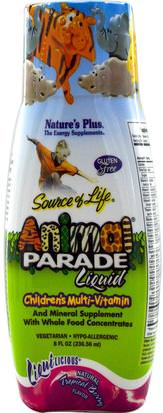 Vitaminas, Multivitaminas, Niños Multivitaminas, Multivitaminas Líquidas Natures Plus, Source of Life, Animal Parade Liquid, Childrens Multi-Vitamin, Natural Tropical Berry Flavor, 8 fl oz (236.56 ml)