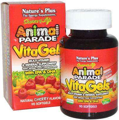 Vitaminas, Multivitaminas, Niños Multivitaminas Natures Plus, Source of Life, Animal Parade, VitaGels, Multi-Vitamin & Mineral Supplement, Natural Cherry Flavor, 90 Softgels