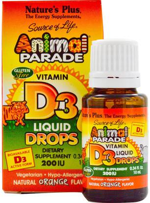 Vitaminas, Vitaminas Ay D, Complementa A Los Niños Natures Plus, Source of Life, Animal Parade, Vitamin D3, Liquid Drops, Natural Orange Flavor, 200 IU, 0.34 fl oz (10 ml)