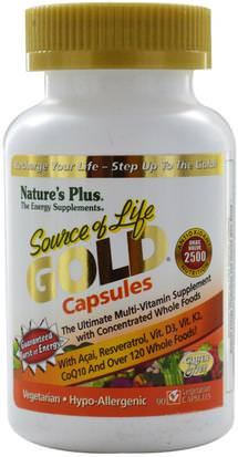 Vitaminas, Multivitaminas Natures Plus, Source of Life, Gold Capsules, 90 Veggie Caps