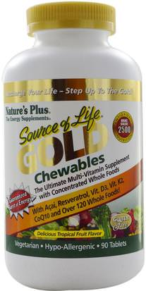 Vitaminas, Multivitaminas Natures Plus, Source of Life, Gold Chewables, Delicious Tropical Fruit Flavor, 90 Tablets