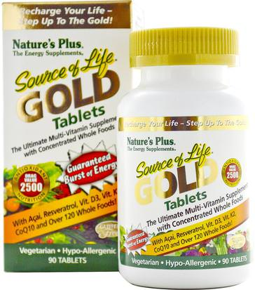 Vitaminas, Multivitaminas Natures Plus, Source of Life Gold, The Ultimate Multi-Vitamin Supplement, 90 Tablets