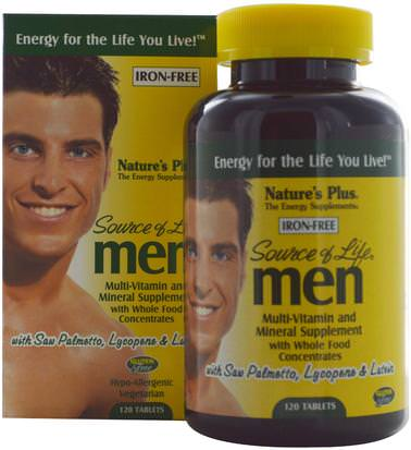 Vitaminas, Hombres Multivitaminas, Hombres Natures Plus, Source of Life, Men, Multi-Vitamin and Mineral Supplement, Iron-Free, 120 Tablets