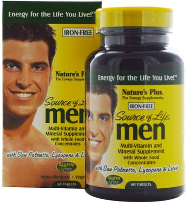 Vitaminas, Hombres Multivitaminas, Hombres Natures Plus, Source of Life Men, Multi-Vitamin and Mineral Supplement, Iron-Free, 60 Tablets