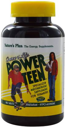 Vitaminas, Multivitaminas, Niños Multivitaminas Natures Plus, Source of Life, Power Teen, 180 Tablets