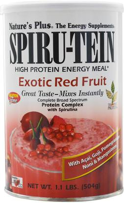 Suplementos, Productos De Soja, Proteína De Soya, Polvo De Proteína De Arroz Natures Plus, Spiru-Tein, High Protein Energy Meal, Exotic Red Fruit, 1.1 lbs (504 g)