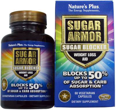 Salud, Dieta Natures Plus, Sugar Armor, Sugar Blocker, Weight Loss Aid, 60 Veggie Caps