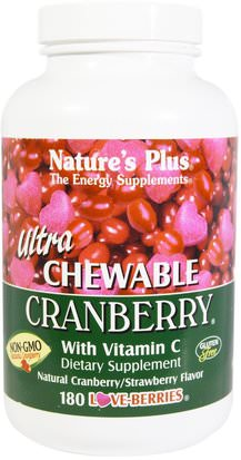 Hierbas, Arándano Natures Plus, Ultra Chewable Cranberry with Vitamin C, Natural Cranberry/Strawberry Flavor, 180 Love-Berries
