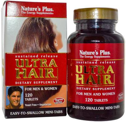 Salud, Hombres, Mujeres Natures Plus, Ultra Hair, Sustained Release, For Men & Women, 120 Tablets