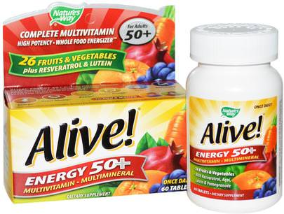 Vitaminas, Multivitaminas Natures Way, Alive!, Energy 50+, Multivitamin-Multimineral, For Adults 50+, 60 Tablets
