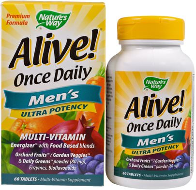 Vitaminas, Hombres, Multivitaminas Natures Way, Alive! Once Daily, Mens Multi-Vitamin, 60 Tablets