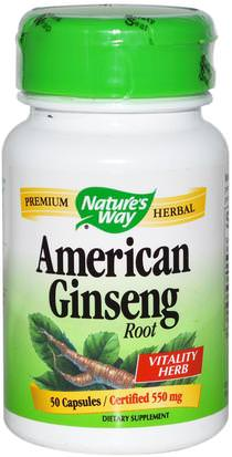 Salud, Gripe Fría Y Viral, Ginseng, Suplementos Natures Way, American Ginseng Root, 550 mg, 50 Capsules