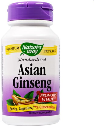 Salud, Gripe Fría Y Viral, Ginseng, Suplementos Natures Way, Asian Ginseng, Standardized, 60 Veggie Caps