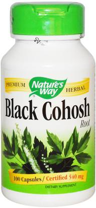 Salud, Mujeres, Cohosh Negro Natures Way, Black Cohosh Root, 540 mg, 100 Capsules