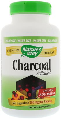 Suplementos, Minerales, Carbón Activado Natures Way, Charcoal, Activated, 280 mg, 360 Capsules